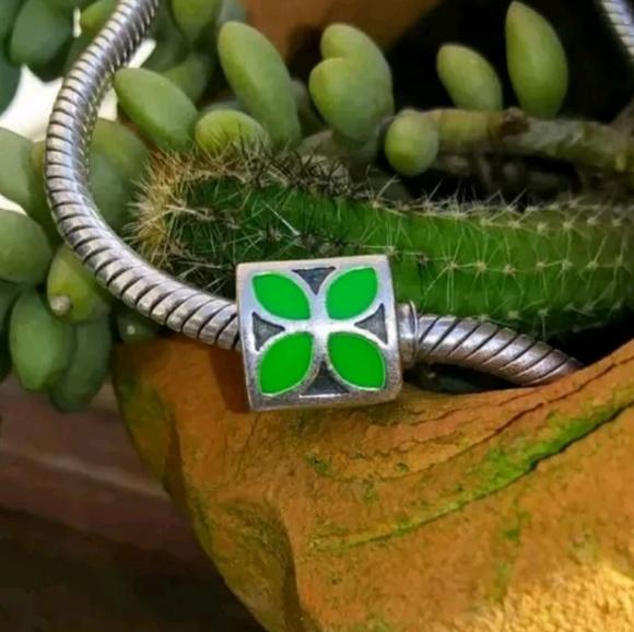 b58a92e45 Pandora Jewelry | Retired Green Four Petal Flower Charm | Poshmark